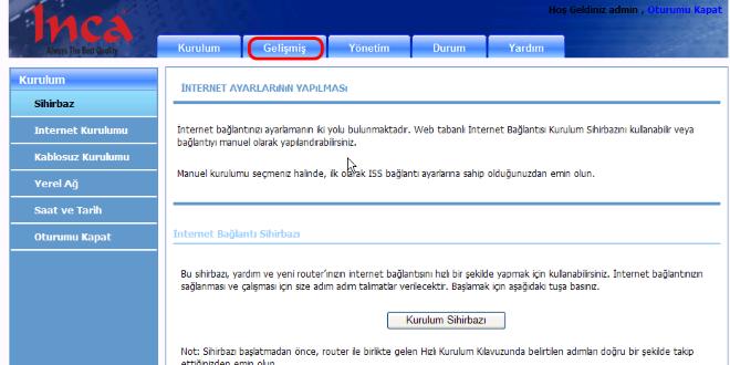 inca_modem_port_yönlendirmesi