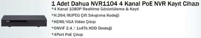 NVR 1104 Dahua nvr kayıt cihazı