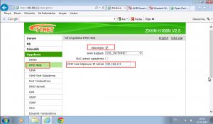 ZTE ZXHN H108N Modem ayarları
